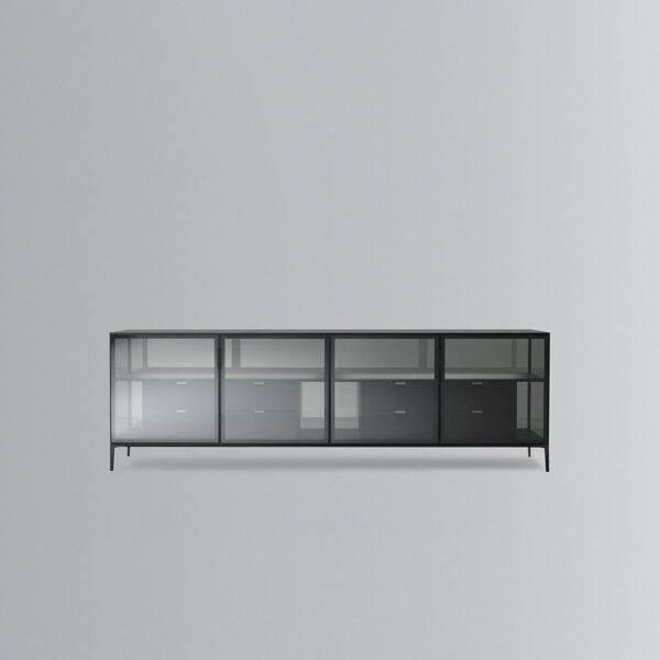 design italiaans meubel dressoir glas en hout