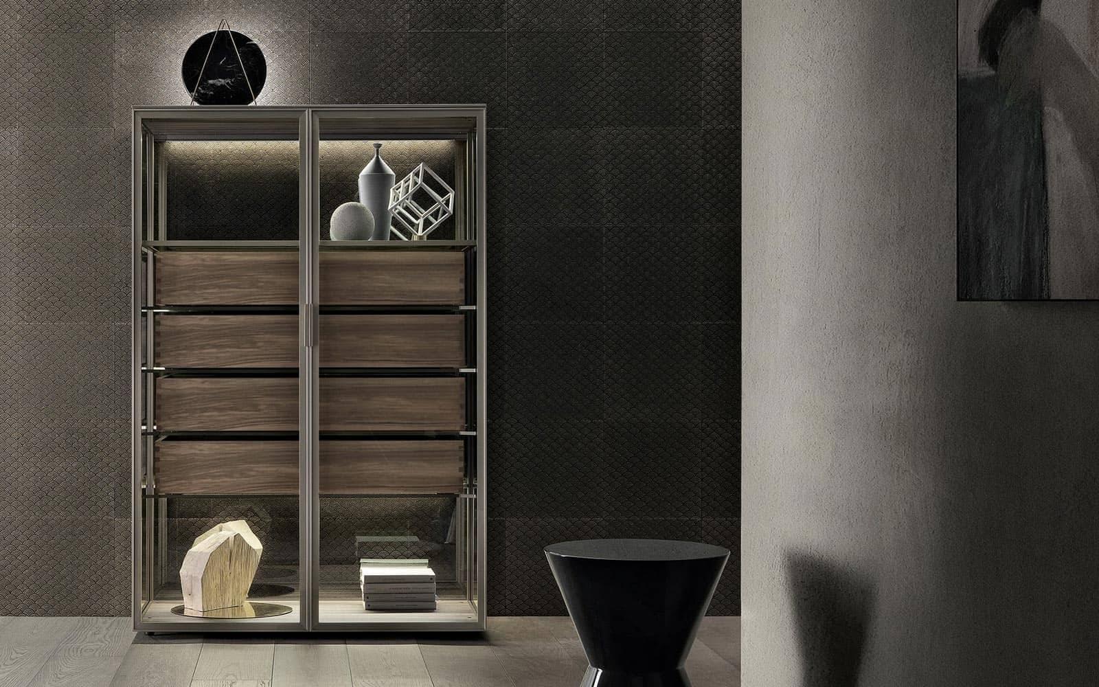 rimadesio alambra monetice glazen kast met lades in notenhout italiaans design