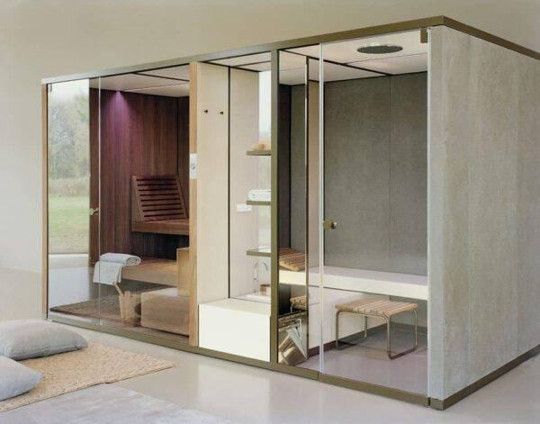 gecombineerde sauna en stoomcabine in glas en steen