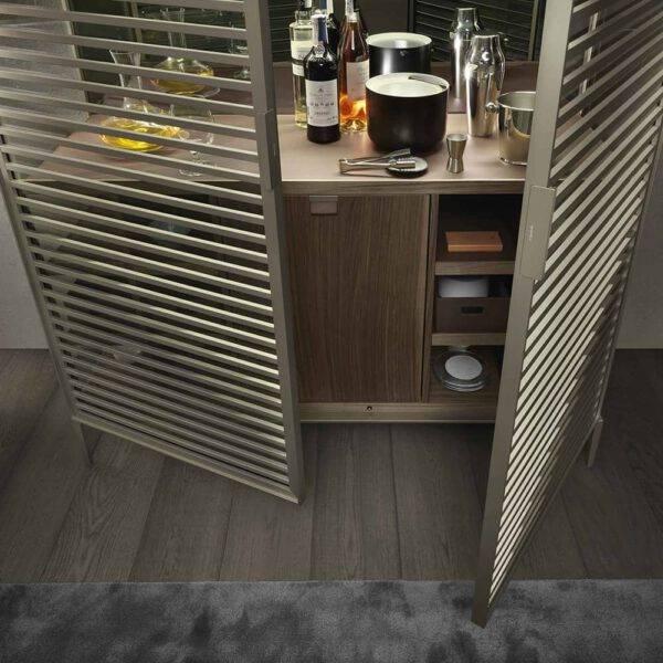 luxe barmeubel in glas aluminum en hout met koeling rimadesio_
