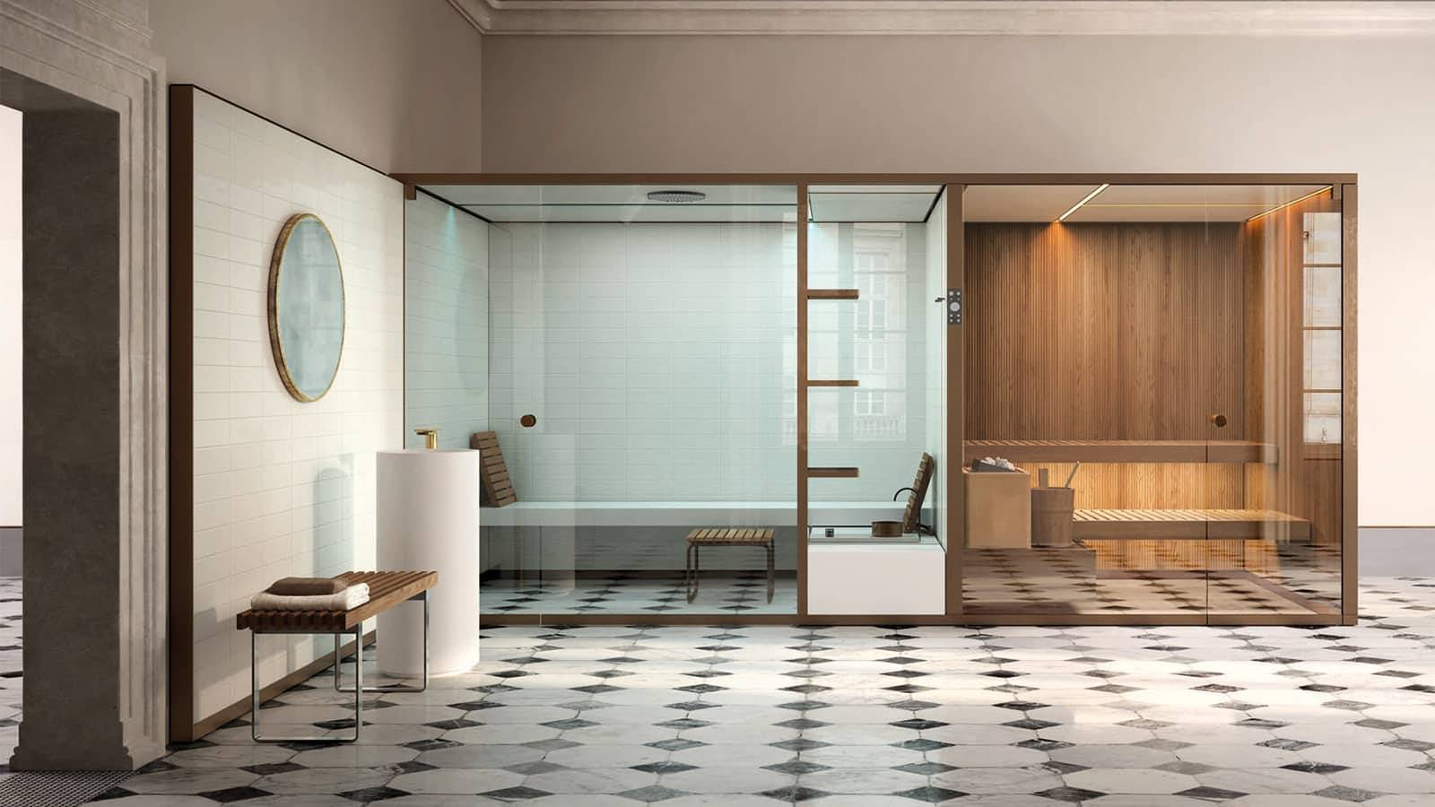 luxe finse sauna op maat in hout met glazen deuren en afwerking in marmer effegibi bodylove via noctum