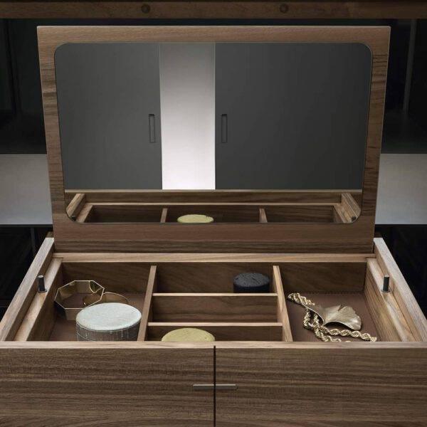 luxe makeup tafel voor slaapkamer of dressing rimadesio in notenhout