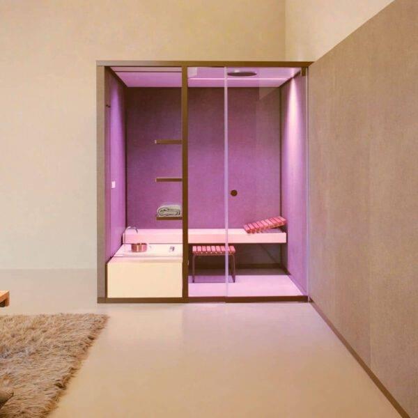 luxe design stoomcabine met kleurentherapie effegibi bodylove