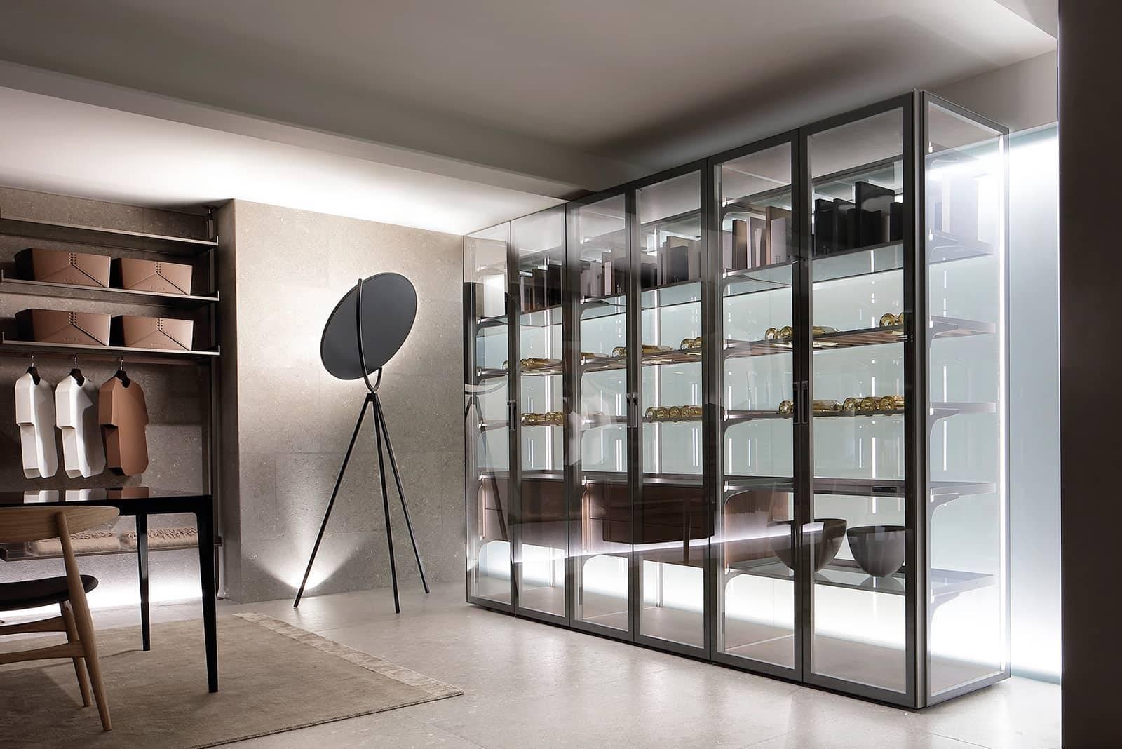 luxe glazen vrijstaande vitrinekast italiaans design rimadesio cover