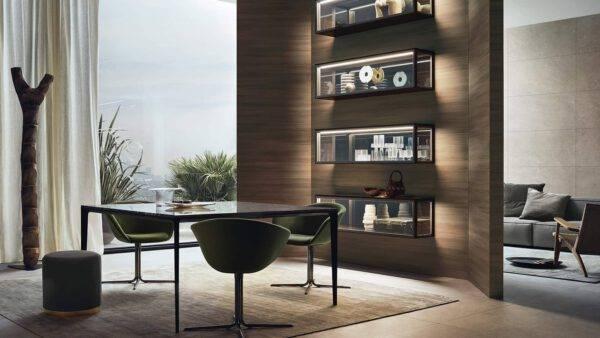 luxe glazen zwevende vitrinekasten op maat italiaans design Rimadesio Alambra
