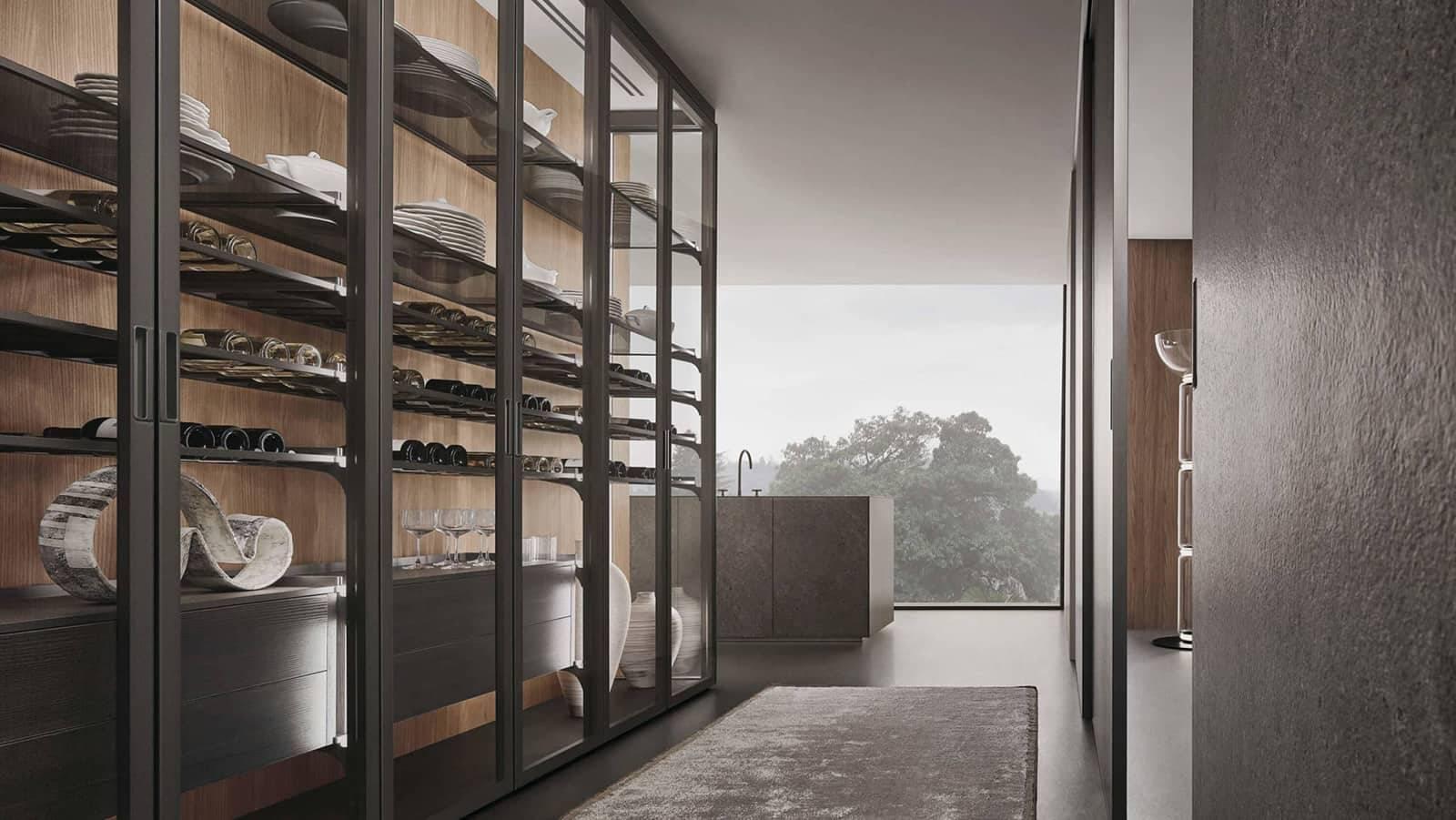 luxe glazen vitrinekast of buffetkast voor keuken met wijnrekken en ladeblokken rimadesio cover