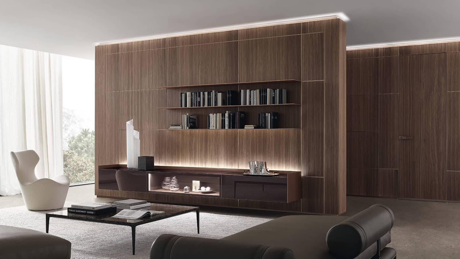 luxe houten interieurpanelen met zwevende geïntegreerd dressoir in glas rimadesio dealer noctum