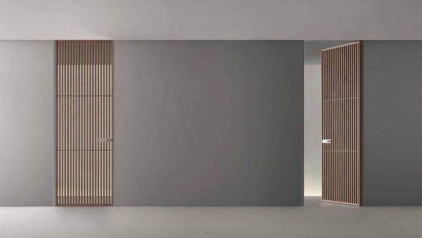 design japans ogende binnendeur met houten horizontale profielen en glas rimadesio sail italiaans design