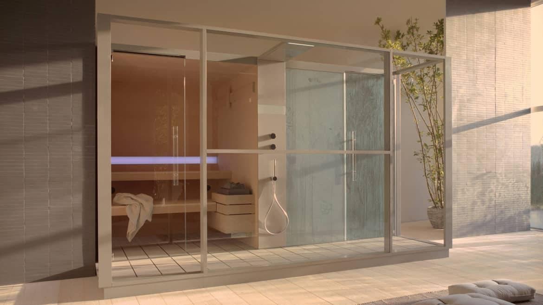 exclusieve inbouw stoomcabine en sauna combinatie op maat italiaans design effegibi logica