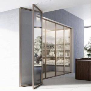 design harmonicadeur of vouwdeur met aluminium kader en glas italiaans design