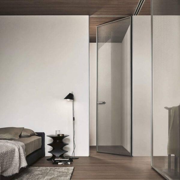 luxe glazen design binnendeur met aluminium kader kamerhoog op maat gemaakt zonder zichtbaar kozijn rimadesio zen