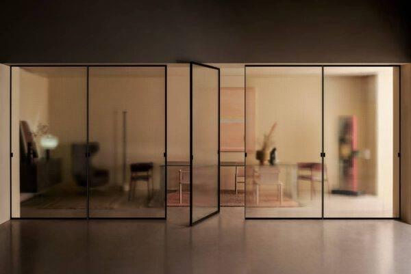 glazen dubbele binnendeuren in glas taatsdeuren met een aluminium kader en transparant glas Glasitalia Spin