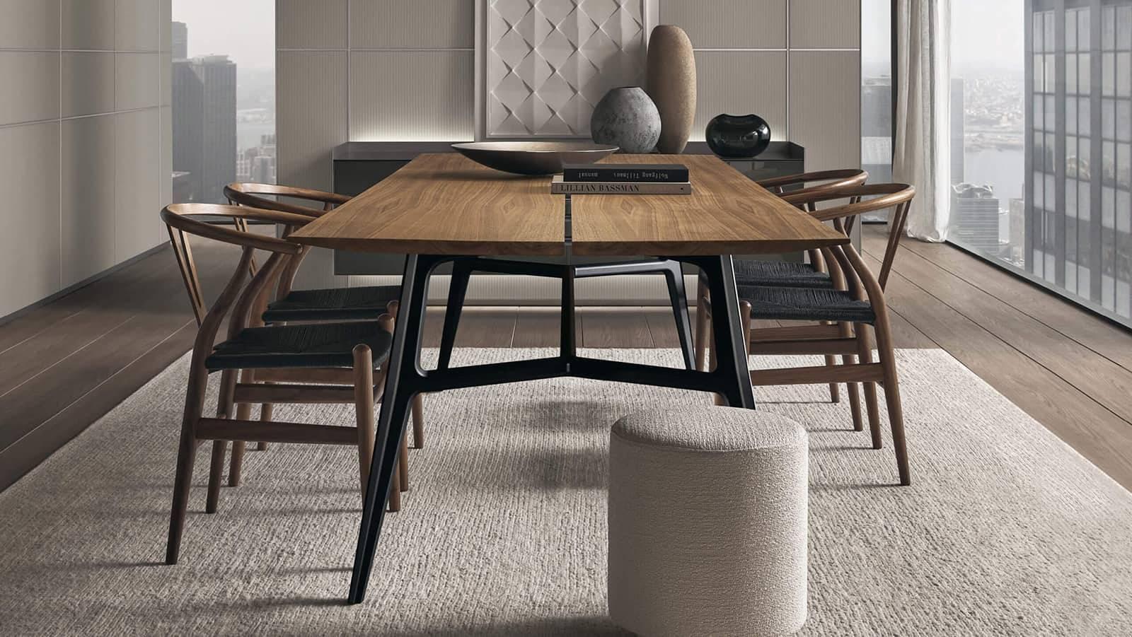 design tafel in noten hout op maat met gelakt aluminium poten italiaans maatwerk Rimadesio Francis