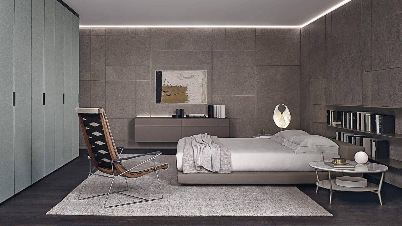 luxe slaapkamer design met gres keramiek wandpanelen en textiel garderobekasten