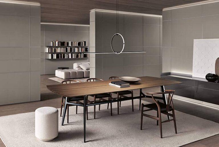 italiaanse design tafel reftertafel of kloostertafel met notenhout blad en luxe wandpanelen rimadesio