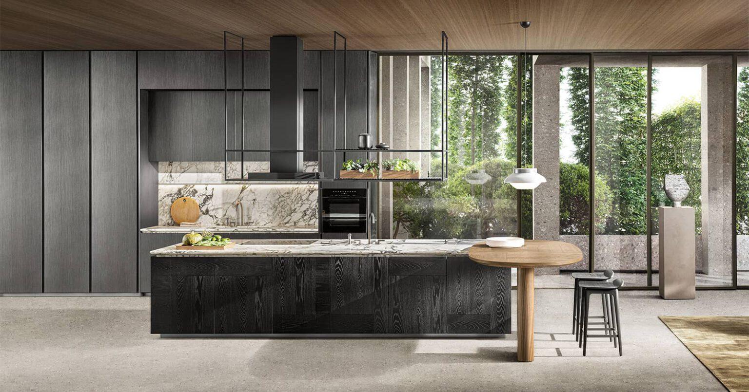 maatwerk italiaans keukeneiland met marmer blad en luxe houten kasten dada keukens rotterdam