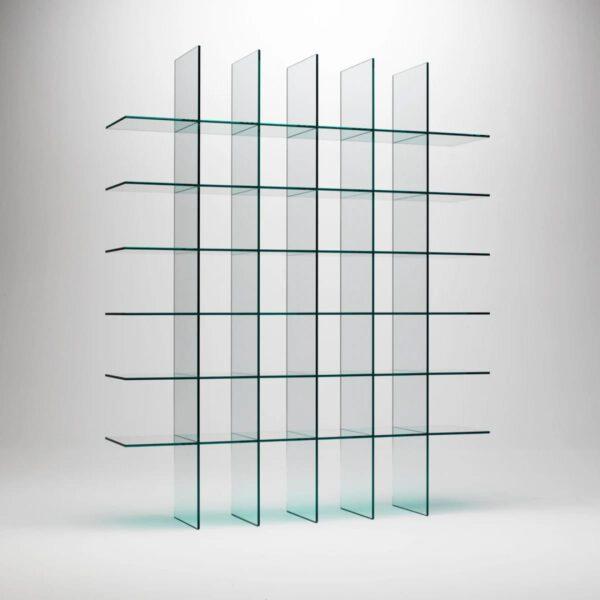 Luxe-Glazen-Legplanken-Roomdivider-Italiaanse-Wandmeubel-Boekenkast-GlasItalia