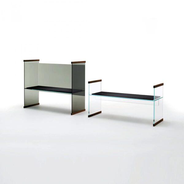 Luxe-Moderne-Maatwerk-Glazen-Rookglas-Italiaanse-Transparante-Boekenkast-Bureau-Diapositive-GlasItalia