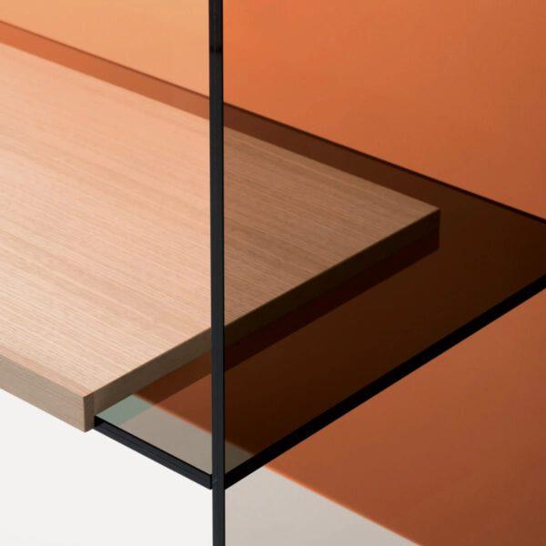 Moderne-Luxe-Italiaanse-Maatwerk-Bureau-Boekenkast-GlasItalia